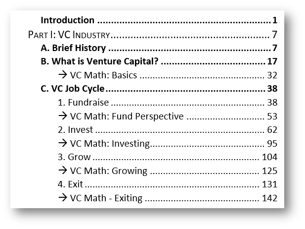 VC Strategy Texbook Contents Part I