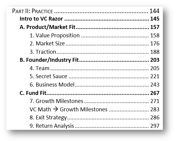 VC Strategy Table of Contents Part II